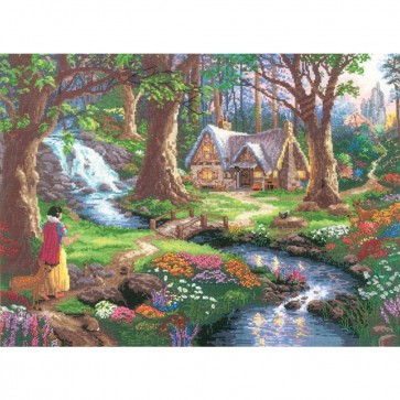 Disney Dreams Collection Snow White Discovers The Cottage Counted Cross Stitch Kit