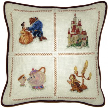 Disney Dreams Collection Beauty And The Beast Pillow Counted Cross Stitch Kit