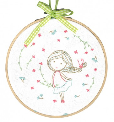 DMC Printed Embroidery Kit - Spring Girl
