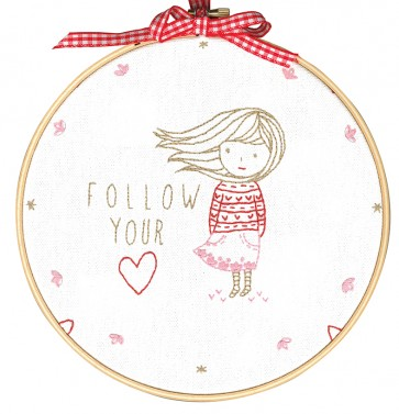DMC Printed Embroidery Kit - Follow Your Heart