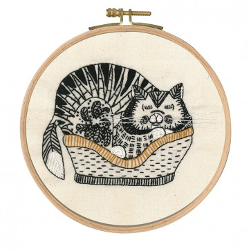DMC Printed Embroidery Kit - Reigning Cats and Dogs - Sebastian Sleeping