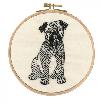 DMC Printed Embroidery Kit - Reigning Cats and Dogs - Doug the Pug