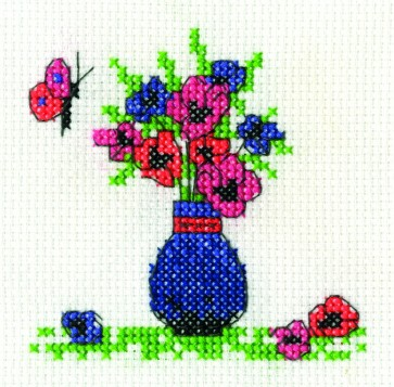 DMC Cross Stitch Kit - Mini Flowers Kit - Anemones