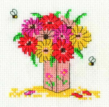 DMC Cross Stitch Kit - Mini Flowers Kit - Gerbera