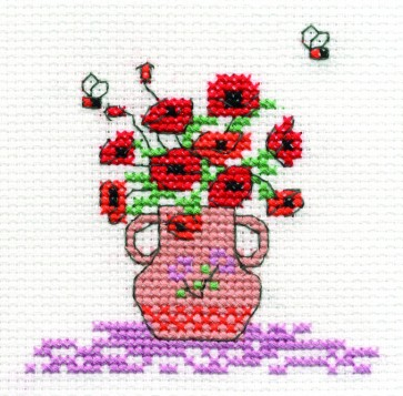 DMC Cross Stitch Kit - Mini Flowers Kit - Poppies