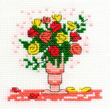 DMC Cross Stitch Kit - Mini Flowers Kit - Mixed Roses