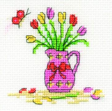 DMC Cross Stitch Kit - Mini Flowers Kit - Tulips