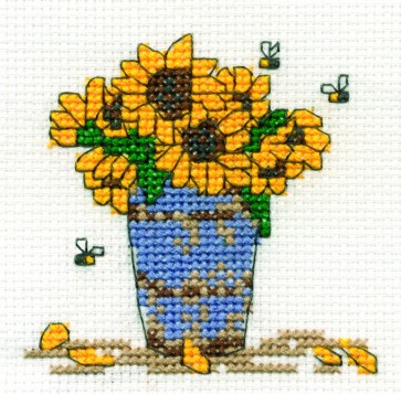 DMC Cross Stitch Kit - Mini Flowers Kit - Sunflowers