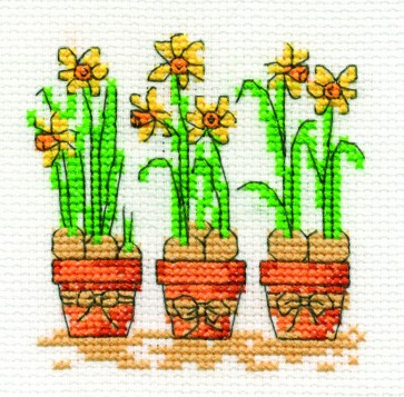 DMC Cross Stitch Kit - Mini Flowers Kit - Daffodil Trio