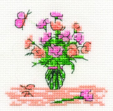 DMC Cross Stitch Kit - Mini Flowers Kit - Crysanths