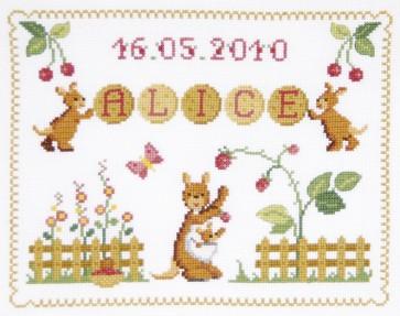 DMC Cross Stitch Kit - Childrens - Kangaroos First Name Sampler