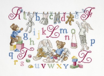 DMC Cross Stitch Kit - Children's Designs - ABC Teddy and Rabbits