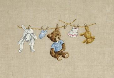 DMC Cross Stitch Kit - Children's Designs - Teddy and Rabbit Wash Day