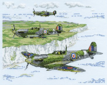 DMC Cross Stitch Kit - Military - Spitfire over Dover