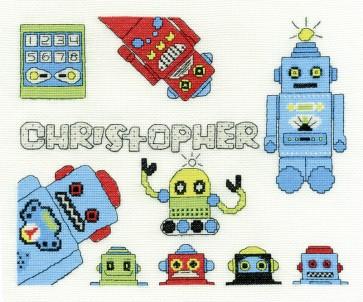 DMC Cross Stitch Kit - Childrens - Funky Robot First Name Sampler