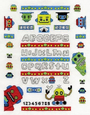 DMC Cross Stitch Kit - Childrens - Funky Robot A-Z