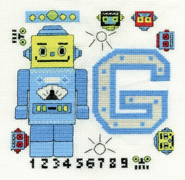 DMC Cross Stitch Kit - Childrens - Funky Robot First Name Initial