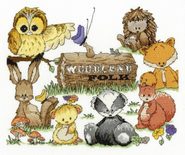DMC Cross Stitch Kit - Woodland Folk - Friends Sampler