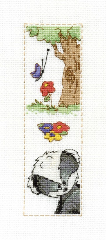 DMC Cross Stitch Kit - Woodland Folk - Bert Badger Bookmark