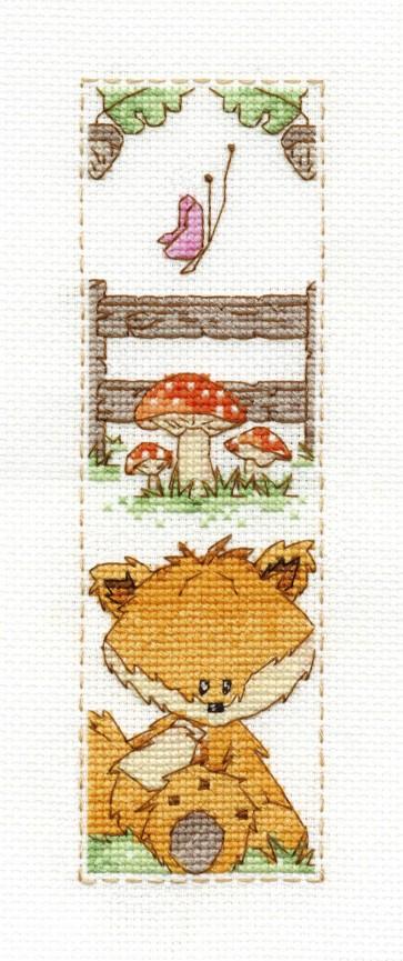 DMC Cross Stitch Kit - Woodland Folk - Toby Fox Bookmark