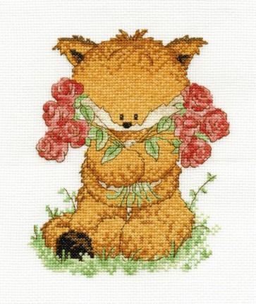 DMC Cross Stitch Kit - Woodland Folk - Toby Fox With Roses