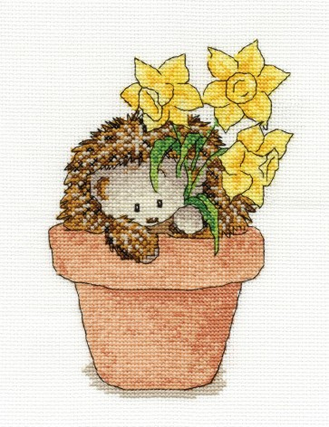 DMC Cross Stitch Kit - Woodland Folk - Frankie Hedgehog With Daffodils
