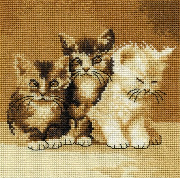 DMC Cross Stitch Kit - Cats - Three Cute Cats