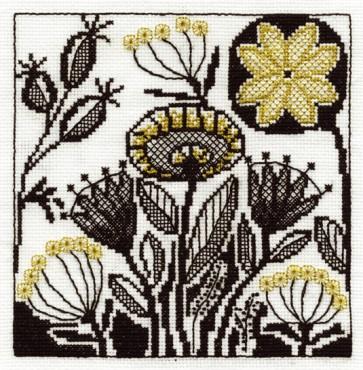 DMC Cross Stitch Kit - Blackwork - Flower Collection