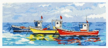 DMC Cross Stitch Kit - Seaside - Bright Fishing Boats