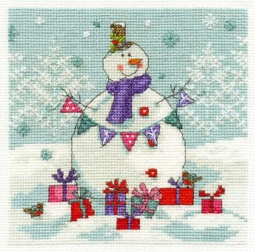 DMC Cross Stitch Kit - Christmas - Snowman With Presents