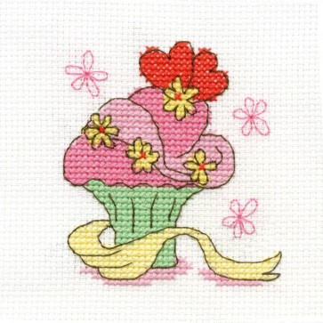 DMC Cross Stitch Kit - Sweet Temptations - Flower Cupcake