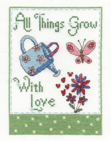DMC Cross Stitch Kit - Modern - All Things Grow With Love