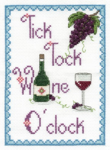 DMC Cross Stitch Kit - Modern - Tick Tock Wine O'clock