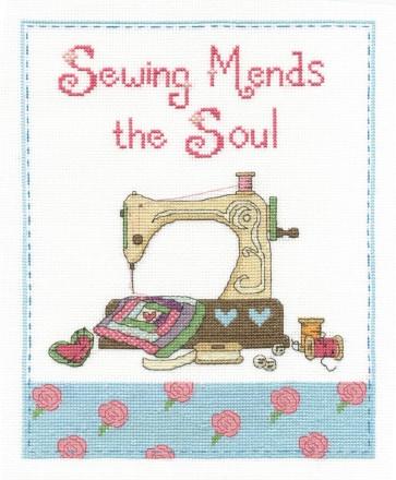 DMC Cross Stitch Kit - Modern - Sewing Mends The Soul