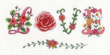 DMC Cross Stitch Kit - Flowers - Love