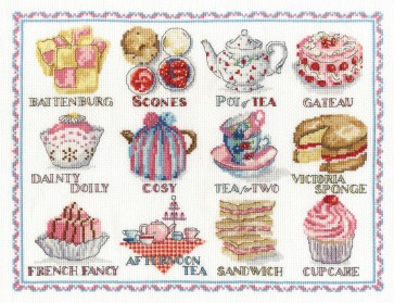 DMC Cross Stitch Kit - Sampler - Afternoon Tea Sampler