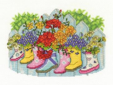 DMC Cross Stitch Kit - Flowers - Blossoming Wellies