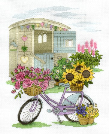 DMC Cross Stitch Kit - Flowers - Flowery Bicycle