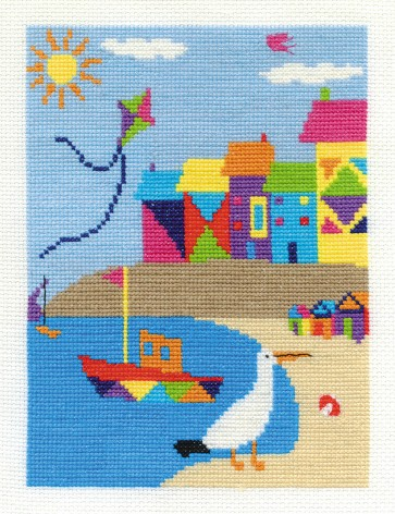 DMC Cross Stitch Kit - By The Seaside - Beach Houses