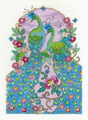 DMC Cross Stitch Kit - Oriental Delight - Peacocks
