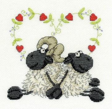 DMC Cross Stitch Kit - Shabby Sheep - Love You Too