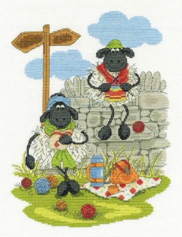 DMC Cross Stitch Kit - Shabby Sheep - Lunching and Knitting