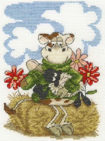 DMC Cross Stitch Kit - Cows On The Moo-ve - Feeding Time