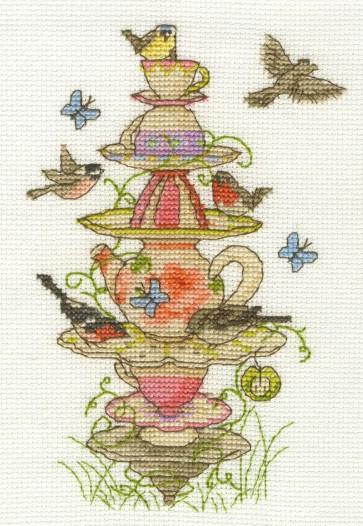 DMC Cross Stitch Kit - Afternoon Tea - Tea Garden