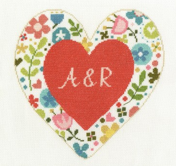 DMC Cross Stitch Kit - Floral Hearts - Personalised Heart