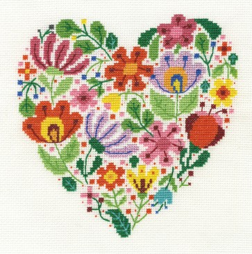 DMC Cross Stitch Kit - Floral Hearts - Bouquet Of Love