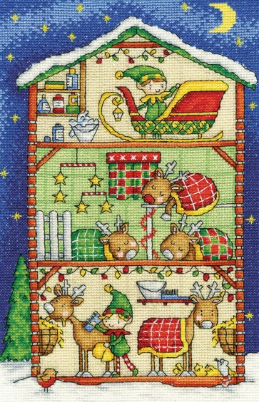 DMC Cross Stitch Kit - Inside Christmas - Reindeer Barn
