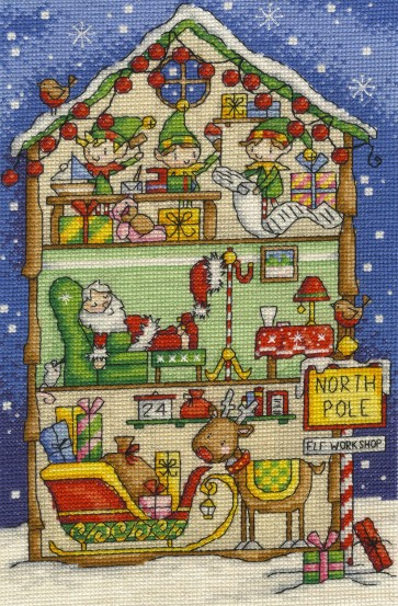 DMC Cross Stitch Kit - Inside Christmas - Elf's Workshop