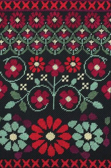 DMC Counted Half Cross Stitch Kit - Red Geo Flowers
