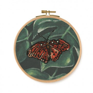 DMC Printed Cross Stitch Kit - Tropical Birds & Butterflies - Red Butterfly